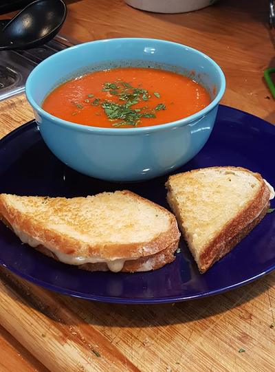 Fresh Tomato Soup and Grilled Cheese